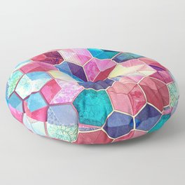 Topaz & Ruby Crystal Honeycomb Cubes Floor Pillow