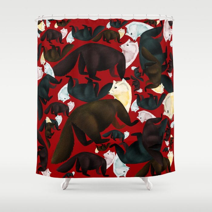 Marten Tropical Pattern Red Shower Curtain