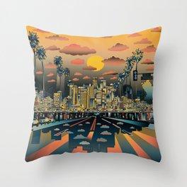 los angeles city skyline Throw Pillow