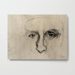 Charcoal Gesture Eyes Drawing Sketch of Expressive Spontaneous Portrait Face Metal Print