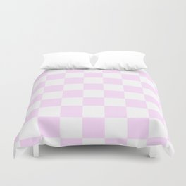 Checkered - White and Pastel Violet Duvet Cover