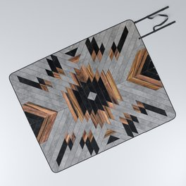 Urban Tribal Pattern No.6 - Aztec - Concrete and Wood Picnic Blanket