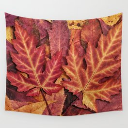 Colorful Autumn Maple Leaf Indian Summer Red Wall Tapestry