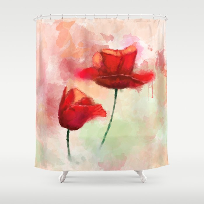 Red Poppy watercolor painting Shower Curtain by thubakabra | Society6