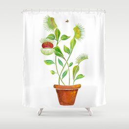 Venus Fly Trap Watercolor Shower Curtain