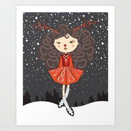 'Rudolf the Reel Deer' Lil Dancer Art Print