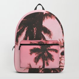 Tropical palm trees on beige pink Backpack