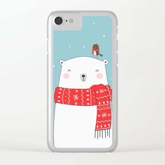 POLAR BEAR&LITTLE BIRD CHRISTMAS Clear iPhone Case