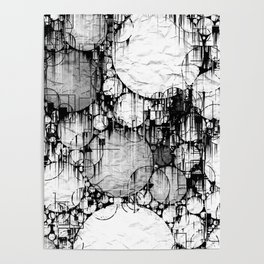 Glitch Black & White Circle abstract Poster