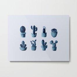 One cactus six cacti in indigo blue Metal Print