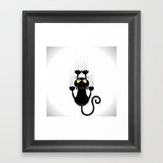 Black Cat Cartoon Scratching Wall Framed Art Print