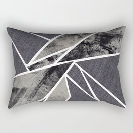 black and white flower Rectangular Pillow