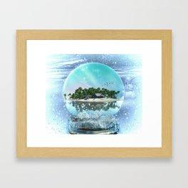 Snow Globe Island Framed Art Print
