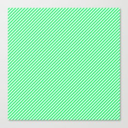 Lanai Lime Green - Acid Green and White Candy Cane Stripe Canvas Print
