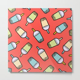 Bubble Tea Pattern in Red Metal Print