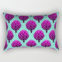 Cute Artichoke Pattern on Teal Background Rectangular Pillow