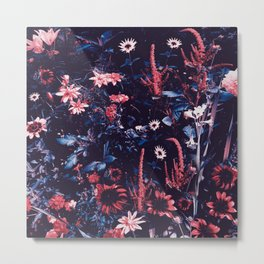 Cobalt And Carmine Bold Night Floral Metal Print