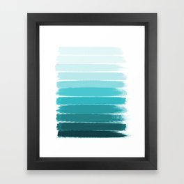 Sapote - painted abstract brushstrokes ombre blue colorful bright coastal decor dorm college Framed Art Print