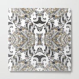 Abstract Black Gold Kaleidoscope Art Metal Print