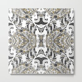 Abstract Black Gold Kaleidoscope Art Metal Print