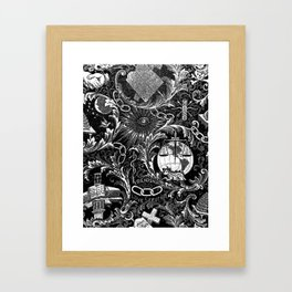 Black and White Woven IOOF Symbolism Tapestry Framed Art Print