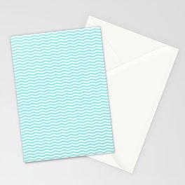 Aqua Belle and White Chevron Wave Wavy ZigZag Stripes Stationery Cards