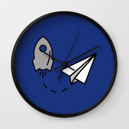Rocket and origami paper airplane Wall Clock