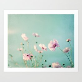 Pink Aqua Blue Flower Photography, Teal Floral Nature Photo, Turquoise Nursery Botanical Picture Art Print