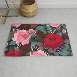 Triangles With Vintage Red Pink Roses and Chocolate Cosmos Flower Pattern Rug