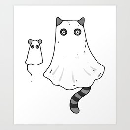 Cat Ghost & Mouse Ghost – Nightmare Art Print
