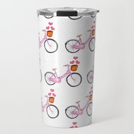 Valentine Bicycles With Basksts of Hearts Travel Mug