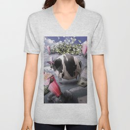 Funny Fat Moon Cow Milkshake Cash Unisex V-Neck