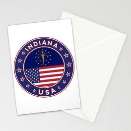 Indiana, Indiana t-shirt, Indiana sticker, circle, Indiana flag, white bg Stationery Cards
