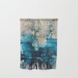 Timeless: A gorgeous, abstract mixed media piece in blue, pink, and gold by Alyssa Hamilton Art Wall Hanging