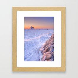 Lighthouse of Marken, The Netherlands at sunrise in winter Framed Art Print