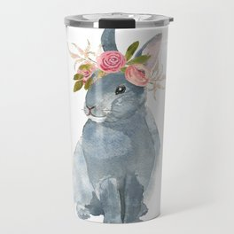bunny with flower crown Travel Mug