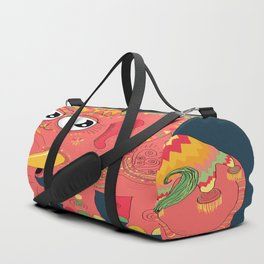 colorful Indian elephant and mouse Duffle Bag