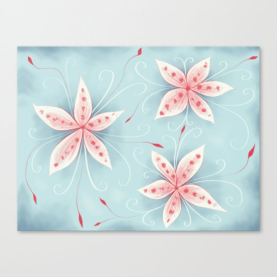 Beautiful Abstract Flowers In Red And White Canvas Print
