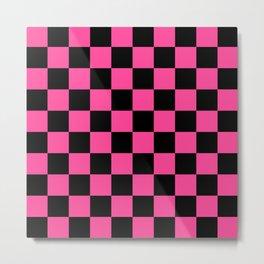 Black and Pink Checkerboard Pattern Metal Print