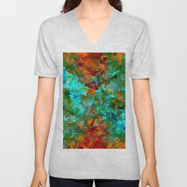 psychedelic geometric triangle fractal abstract pattern in blue green orange Unisex V-Neck