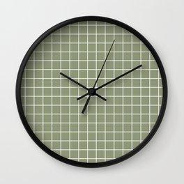 Artichoke - grey color - White Lines Grid Pattern Wall Clock