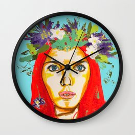 Red haired girl with flowers in her hair Wall Clock