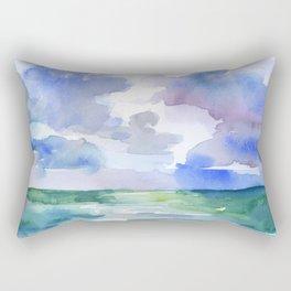 Abstract Ocean Watercolor Rectangular Pillow
