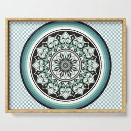 Mandala Design Sea Blue Aqua Theme Serving Tray