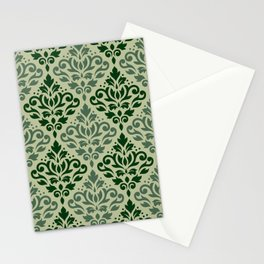 Scroll Damask Pattern Greens Stationery Cards