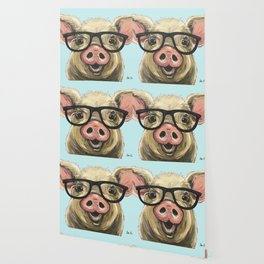 Cute Pig Painting, Farm Animal with Glasses Wallpaper