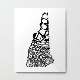 Typographic New Hampshire Metal Print