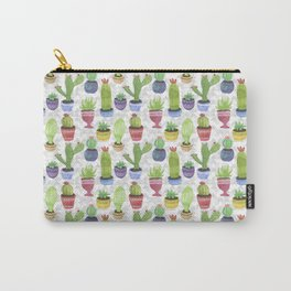 Watercolor Succulent Pattern Carry-All Pouch