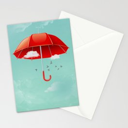 Teal Sky Red Umbrella Stationery Cards
