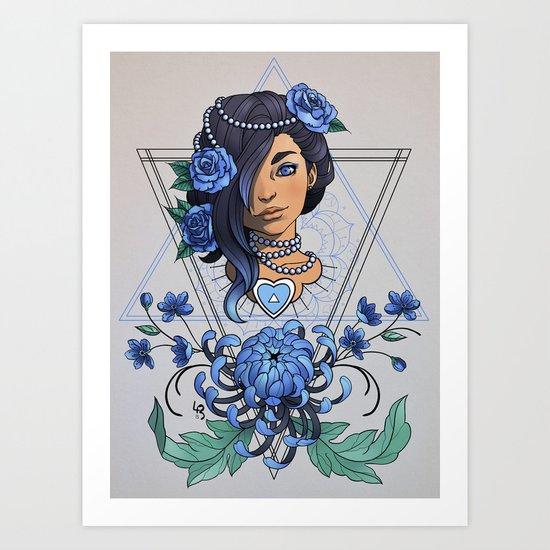 Portrait & Chrysanthemum (blue) Art Print